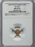 California Fractional Gold: , 1869 25C Liberty Round 25 Cents, BG-828, High R.4, MS62 ProoflikeNGC. NGC Census: (3/4). ...