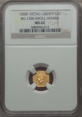 California Fractional Gold , 1858 $1 Liberty Octagonal Dollar, BG-1306, R.3, Kroll Hoard, MS62NGC. NGC Census: (6/2). ...