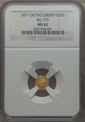 California Fractional Gold , 1871 25C Liberty Head Octagonal 25 Cents, BG-770, High R.4, MS62NGC. NGC Census: (10/6). PCGS Population: (15/22). ...