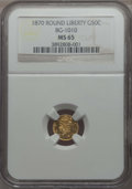 California Fractional Gold , 1870 50C Liberty Round 50 Cents, BG-1010, R.3, MS65 NGC. NGCCensus: (6/5). PCGS Population: (18/7). ...