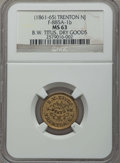 Civil War Tokens, (1861-65) B.W. Titus Dry Goods Token, Trenton, New Jersey,F-885A1-b, MS63 NGC. This lot also includes the following; 1863...(Total: 3 coins)