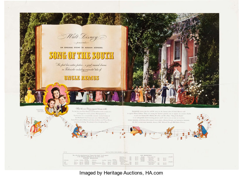 MemorabiliaDisney Song Of The South One Sheet Movie Poster And TheatricalMaterials Walt