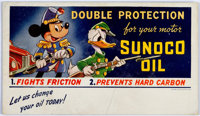 Donald Duck and Mickey Mouse Sunoco Oil Ink Blotter #A-849 Unused(Sunoco/Walt Disney, 1941)