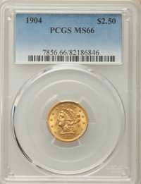 1904 $2 1/2 MS66 PCGS. PCGS Population: (210/61). NGC Census: (204/112). CDN: $850 Whsle. Bid for problem-free NGC/PCGS...