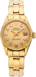 Estate Jewelry:Watches, Rolex Lady's Diamond, Gold Oyster Perpetual Datejust Watch, circa1960. ...