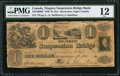 Canadian Currency: , Queenston, UC- Niagara Suspension Bridge Bank $1 Oct 13, 1840 Ch. #535-10-06-02.. ...