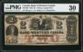 Canadian Currency: , Clifton, CW- Bank of Western Canada $2 Sept. 20, 1859 Ch. #795-10-08.. ...
