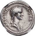 Ancients:Roman Imperial, Ancients: Antonia, mother of Claudius (died AD 37). AR denarius(20mm, 3.77 gm, 5h). NGC VF 5/5 - 4/5....