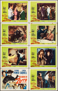"""The Mark of Zorro (20th Century Fox, R-1958). Lobby Card Set of 8 (11"""" X 14""""). Swashbuckler. ... (Total: 8 Ite..."""