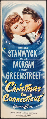 """Christmas in Connecticut (Warner Brothers, 1945). Insert (14"""" X 36""""). Comedy"""