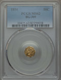 California Fractional Gold , 1854 50C Liberty Octagonal 50 Cents, BG-305, Low R.4, MS62 PCGS.PCGS Population: (29/49). NGC Census: (15/14)....