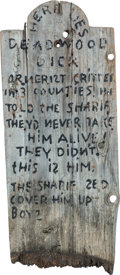 "Memorabilia:Miscellaneous, Ghost Town ""Main Street Tombstone"" Prop (c. 1940s-50s)...."