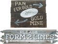"Memorabilia:Miscellaneous, ""Pan Fer Gold"" Ghost Town Sign Group of 2 (1947).... (Total: 2Items)"