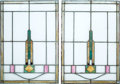Memorabilia:Miscellaneous, Ghost Town Stained Glass Windows Group of 2 (c. 1940s).... (Total: 2 Items)