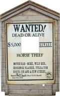 "Memorabilia:Miscellaneous, ""Wanted Dead or Alive"" Ghost Town Wooden Sign (c. 1950s)...."