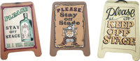 """""""Stay Off the Stage"""" Ghost Town Standup Signs Group of 3 (c. 1980s-90s).... (Total: 3 Items)"""