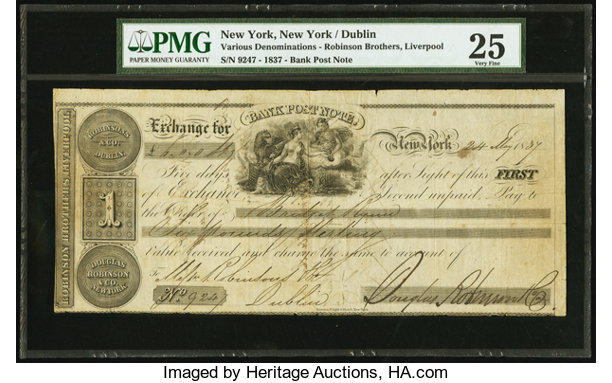 World Currency Ireland Robinson Co Dublin Liverpool New York