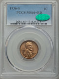 Lincoln Cents: , 1936-S 1C MS66+ Red PCGS. CAC. PCGS Population: (538/62 and 14/1+). NGC Census: (697/118 and 7/0+). Mintage 29,130,000. ...