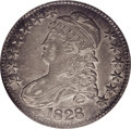 Bust Half Dollars: , 1828 50C Curl Base 2, Knob AU50 NGC. O-107, R.2. This variety andthe rarer O-106 share similar obverses, but with crucial ...