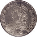 Bust Half Dollars: , 1828 50C Square Base 2, Large 8 AU50 NGC. O-109, R.3. This obverseand the O-108 have a recut first 8 in the date, with a s...