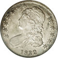 Bust Half Dollars: , 1832 50C Large Letters AU58 NGC. O-101a, R.2. A readilyidentifiable variety with a prominent die crack that joins theeagl...