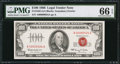 Small Size:Legal Tender Notes, Low Serial Number Fr. 1550 $100 1966 Legal Tender Note. PMG Gem Uncirculated 66 EPQ.. ...