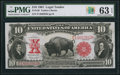 Large Size:Legal Tender Notes, Fr. 120 $10 1901 Legal Tender PMG Choice Uncirculated 63 EPQ.. ...