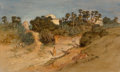 Works on Paper, Samuel Colman (American, 1832-1920). Path by a Mosque. Watercolor and gouache on paper. 10-1/2 x 17-3/8 inches (26.7 x 4...