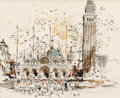 """Works on Paper, Edward Muegge """"Buck"""" Schiwetz (American, 1898-1984). St. Mark's Basilica, 1966. Ink and watercolor on paper. 9-1/4 x 12-..."""