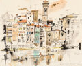 "Fine Art - Work on Paper:Drawing, Edward Muegge ""Buck"" Schiwetz (American, 1898-1984). Arno RiverApartments, 1966. Pencil and watercolor on paper. 8-1/2 ..."