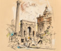 "Fine Art - Work on Paper:Drawing, Edward Muegge ""Buck"" Schiwetz (American, 1898-1984). The Arc ofSeptimo Severus, 1966. Ink and watercolor on paper. 11-1..."
