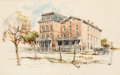 """Fine Art - Work on Paper:Watercolor, Edward Muegge """"Buck"""" Schiwetz (American, 1898-1984). Souvenir ofGathright Hall, A&M University. Ink and watercolor on p..."""
