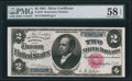 Large Size:Silver Certificates, Fr. 245 $2 1891 Silver Certificate PMG Choice About Unc 58 EPQ.. ...