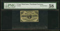 Fractional Currency:Third Issue, Fr. 1226 Milton 3R3.1b 3¢ Third Issue Inverted Back PMG Choice About Unc 58.. ...