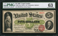 Large Size:Legal Tender Notes, Fr. 62 $5 1862 Legal Tender PMG Choice Uncirculated 63.. ...