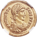Ancients:Roman Imperial, Ancients: Theodosius I the Great (AD 379-395). AV solidus (21mm, 4.41 gm, 6h). NGC MS 5/5 - 4/5....