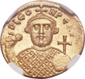 Ancients:Byzantine, Ancients: Leontius (AD 695-698). AV solidus (20mm, 4.49 gm, 6h). NGC MS 4/5 - 4/5....