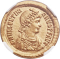 Ancients:Roman Imperial, Ancients: Valentinian II (AD 375-392). AV solidus (21mm, 4.37 gm,6h). NGC MS 5/5 - 3/5....