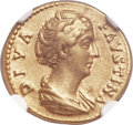 Ancients:Roman Imperial, Ancients: Diva Faustina Senior (died and deified, AD 140/1). AV aureus (19mm, 6.03 gm, 6h). NGC Choice XF 5/5 - 3/5, edge filing....