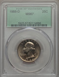 Washington Quarters, 1988-D 25C MS67 PCGS....