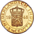 Netherlands East Indies, Netherlands East Indies: Dutch Administration gold Proof Restrike2-1/2 Cents 1945 PF66 Cameo NGC,...