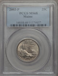 Statehood Quarters, 2003-P 25C Maine MS68 PCGS. PCGS Population: (21/0). NGC Census:(4/0). . From The Mile High Collection....
