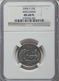 Statehood Quarters, 2004-P 25C Wisconsin MS68 Prooflike NGC. NGC Census: (1/0). PCGSPopulation: (11/0).. From The Mile High Collection....