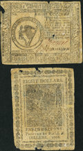 Colonial Notes:Continental Congress Issues, Continental Currency July 22, 1776 $8 Very Fine.. ... (Total: 2items)
