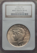 Errors, 1923 $1 Peace Dollar -- Rotated Die -- MS62 NGC....