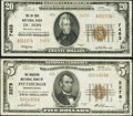 National Bank Notes:Pennsylvania, DuBois, PA - $20 1929 Ty. 2 The DuBois NB Ch. # 7453. Pittsburgh,PA - $5 1929 Ty. 1 The Duquesne NB Ch. # 2278... (Total: 2 notes)