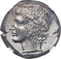 Ancients:Greek, Ancients: SICILY. Leontini. Ca. 430-425 BC. AR tetradrachm (25mm,17.21 gm, 11h). NGC Choice AU 5/5 - 4/5, Fine Style....