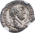 Ancients:Roman Imperial, Ancients: Hadrian (AD 117-138). AR denarius (19mm, 3.48 gm, 6h).NGC MS ★ 5/5 - 5/5....
