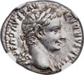 Ancients:Roman Imperial, Ancients: Tiberius (AD 14-37). AR denarius (19mm, 3.77 gm, 6h). NGC AU ★ 5/5 - 4/5....