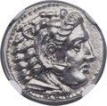 Ancients:Greek, Ancients: MACEDONIAN KINGDOM. Alexander III the Great (336-323 BC).AR drachm (17mm, 4.28 gm, 2h). NGC Choice MS 5/5 - 4/5, FineStyle....